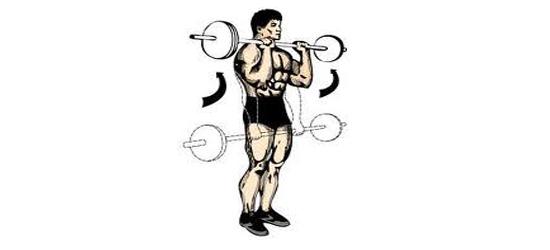 Bicepsový-zdvih-s-velkou-činkou-ve-stoje-nadhmatem-cvičení-doma-posilování-kulturistika